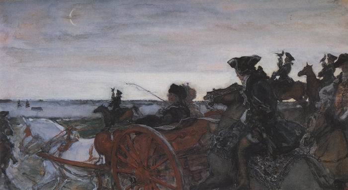 Valentin Alexandrovich Serov - Departure of Catherine II for Falconry