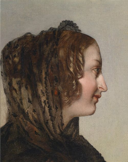Friedrich von Amerling - Female Head in Profile with Black Veil
