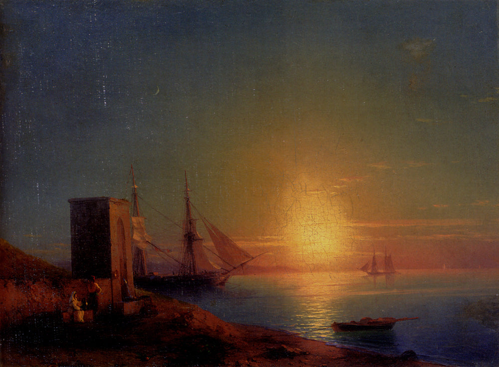 Ivan Aivazovsky - Figures in a Coastal Landscape at Sunset