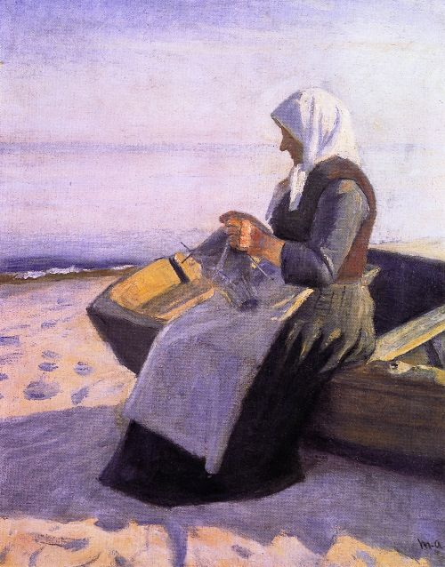 Michael Peter Ancher - Fishermans Wife Knitting on Skagen Beach