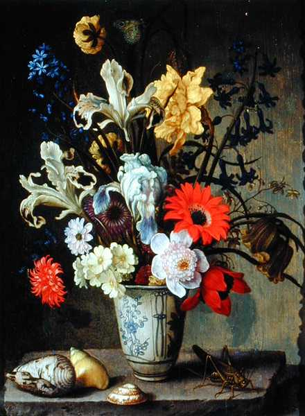 Balthasar van der Ast - Floral Study with beaker grasshopper and seashells