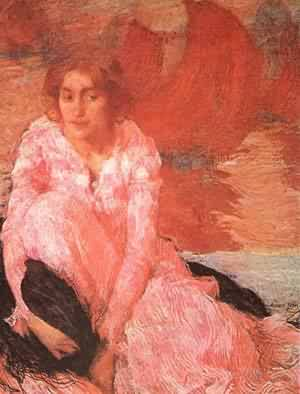 Edmond Aman-Jean - Girl In A Pink Dress 1900-1902