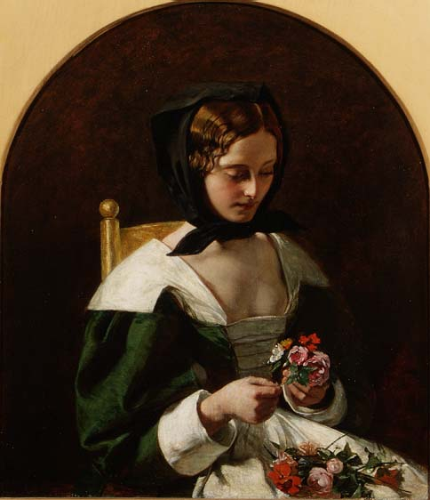 Augustus Leopold Egg - Girl Making a Bouquet of Flowers 1849