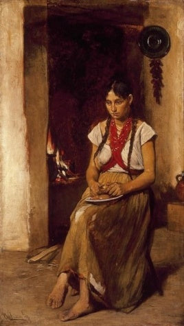 Gyula Agghazy - Girl in front of a Stove