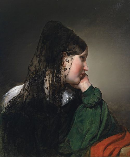 Friedrich von Amerling - Girl in profile with a black mantilla