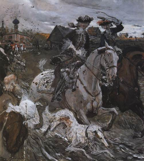 Valentin Alexandrovich Serov - Departure of Emperor Peter II and Princess Elizabeth to Hunt