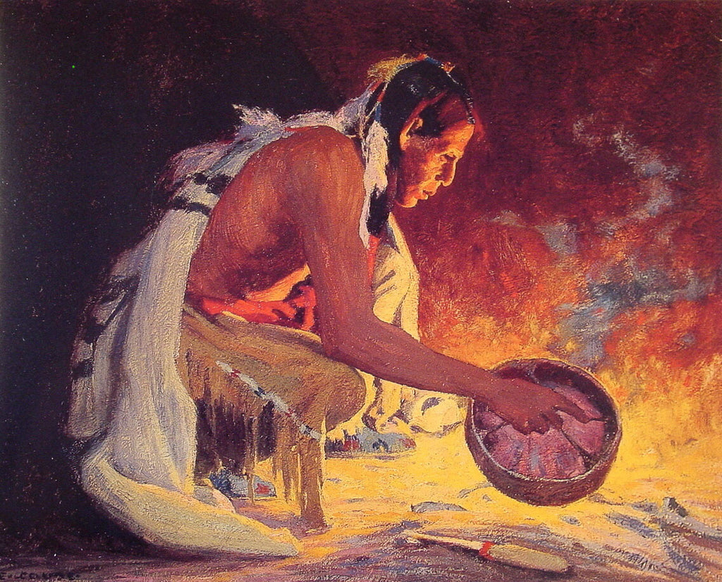 E Irving Couse - Indian by Firelight
