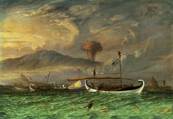 Thomas Baines - Volcano and fishing proas near Passoeroean on the Java coast Indonesia