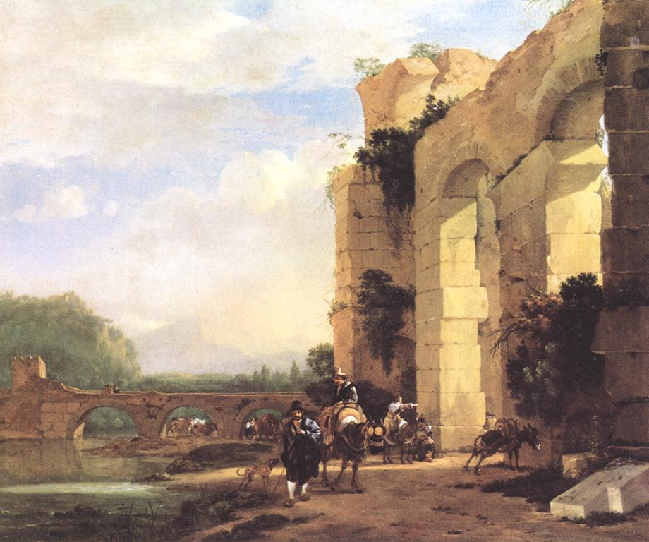 Jan Asselyn - Italian Landscape with the Ruins of a Roman Bridge and Aqueduct