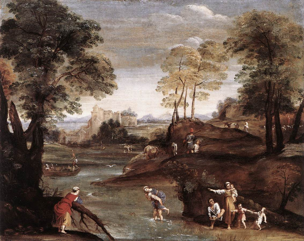 - Domenico Zampieri Domenichino - Landscape with Ford