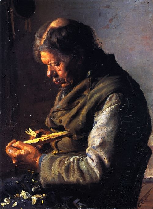 Anna Ancher - Lars Gaihede Whittling a Stock