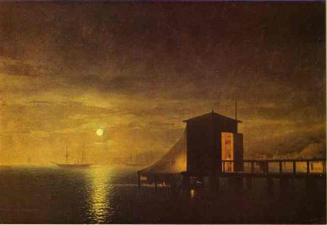 Ivan Aivazovsky - Moonlit Night, A Bathing Hut In Feodosia