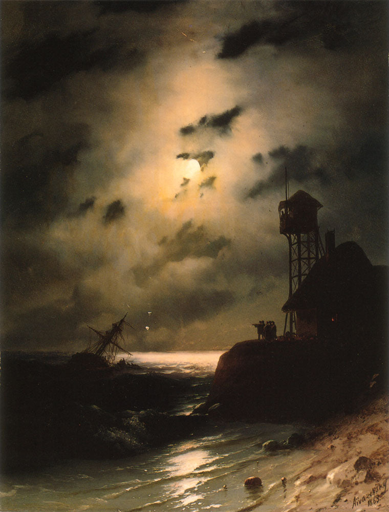 Ivan Aivazovsky - Moonlit Seascape With Shipwreck