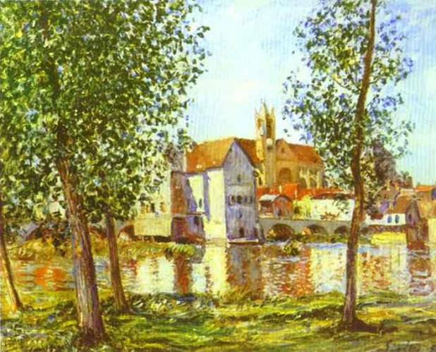 Alfred Sisley - Moret-sur-Loing in the Morning Sun