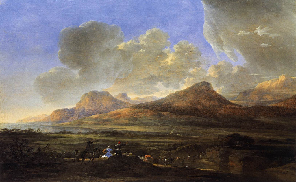 Jan Asselyn - Mountainous Landscape with Traveling Herdsmen