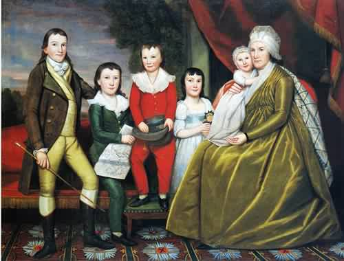 Ralph Earl - Mrs Noah Smith and Her Children 1798 b