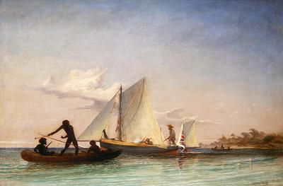 Thomas Baines - The Long Boat of the Messenger attacked by Natives