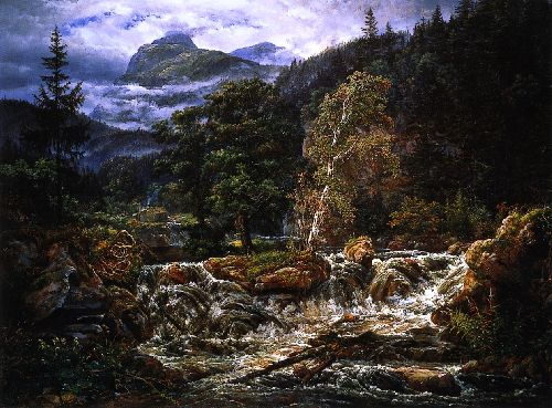 Johan Christian Dahl - Norwegian Mountain Landscape with Waterfall