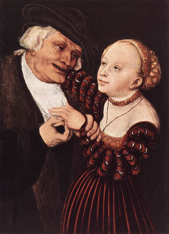 Lucas the Elder Cranach - Old Man and Young Woman