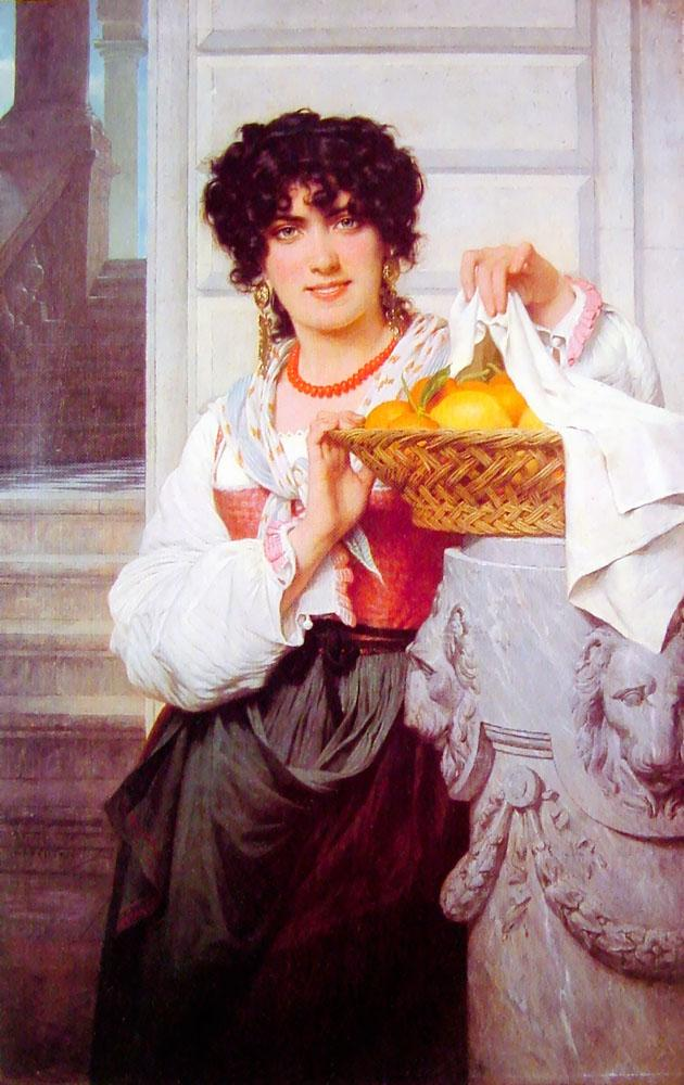Pierre Auguste Cot - Pisan Girl With Basket Of Oranges And Lemons