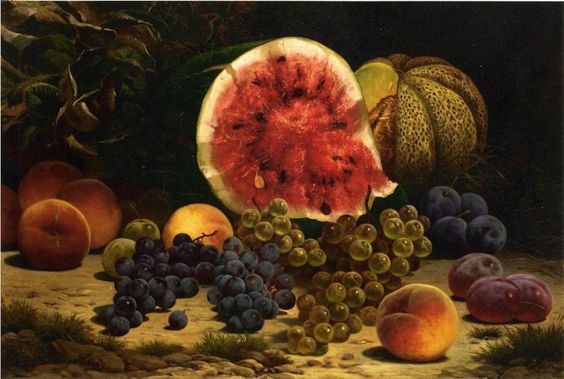 William Mason Brown - Still Life with Watermelon, Grapes, Peaches, and Plums