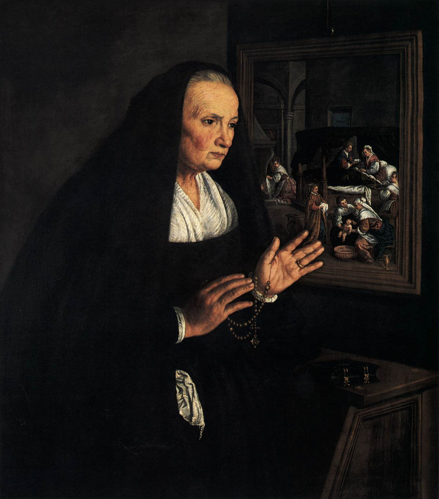 Leandro Bassano - Portrait of a Widow at her Devotions