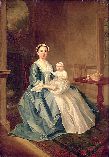 Arthur William Devis - Portrait of a lady of the Lister family and Child