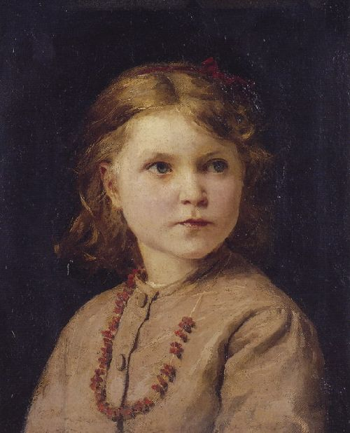 Albert Anker - Portrait of a girl with red necklace