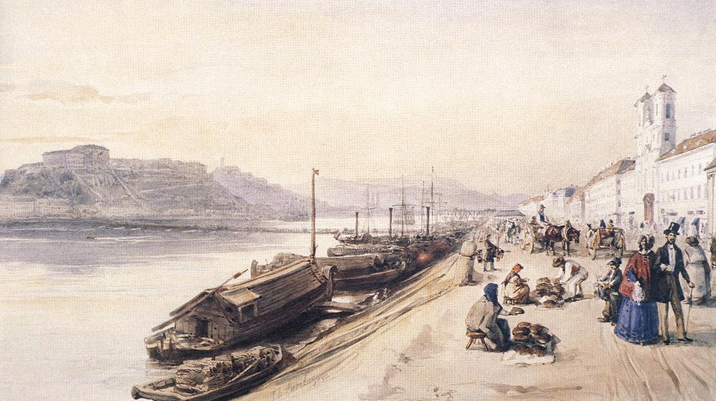 Miklos Barabas - Quay of the Danube with Greek Church