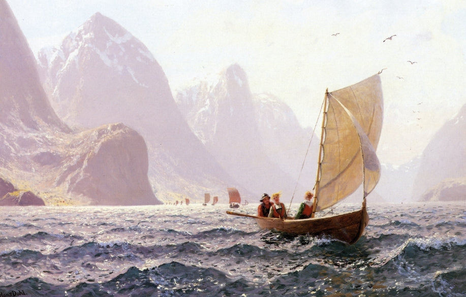 Hans Dahl - Regatta on a Norwegian Fiord