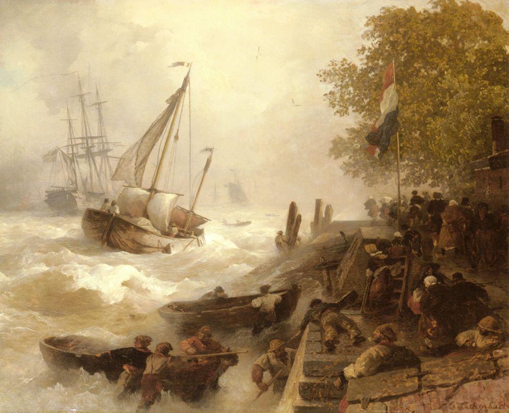 Andreas Achenbach - Return To Harbour In Rough Seas