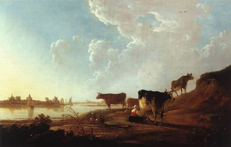 Aelbert Cuyp - River Scene with Milking Woman
