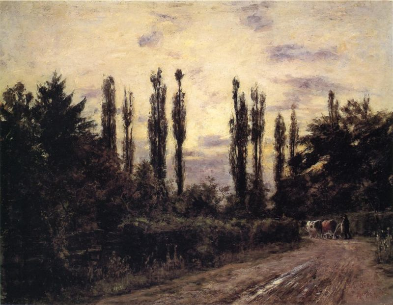 Theodore Clement Steele - Evening, Poplars and Roadway near Schleissheim