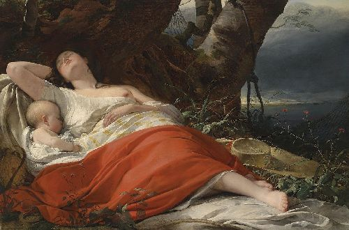 Friedrich von Amerling - Sleeping fisherwoman