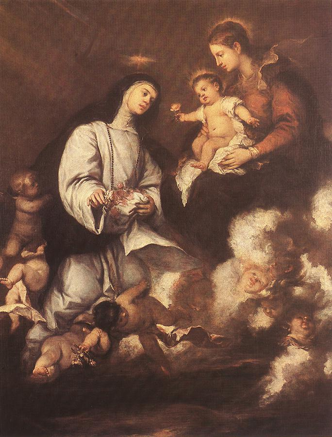 Jose Antolinez - St Rose of Lima before the Madonna