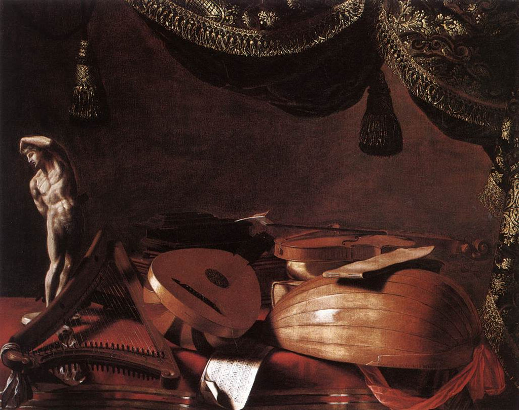 Evaristo Baschenis - Still-Life with Musical Instruments and a Small Classical Statue