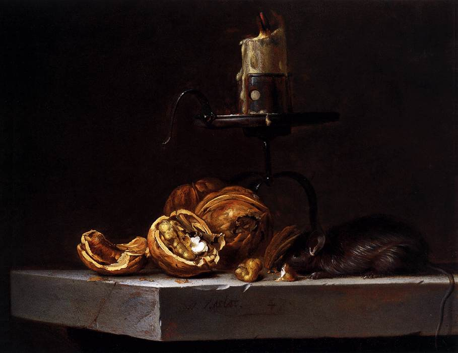 Willem van Aelst - Still Life with Mouse and Candle 1647