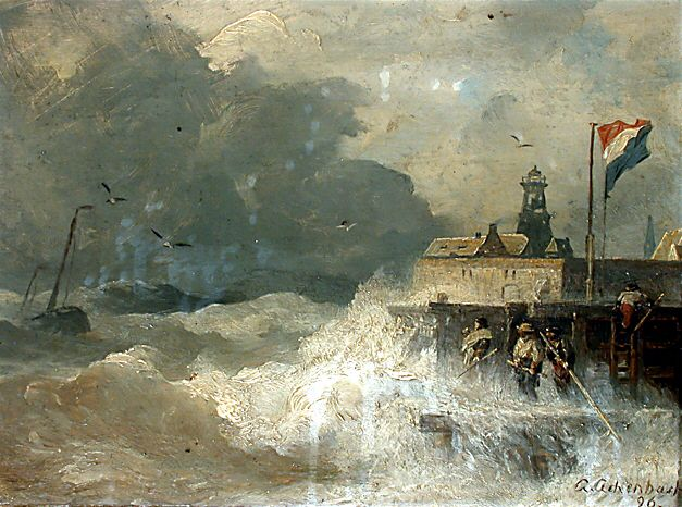 Andreas Achenbach - Storm at the Coast