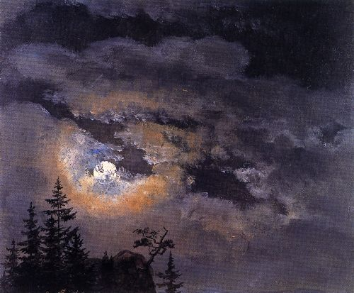 Johan Christian Dahl - Study of Clouds at Full Moon
