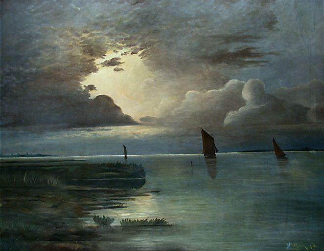 Andreas Achenbach - Sunset at the Sea with Thunderstorm
