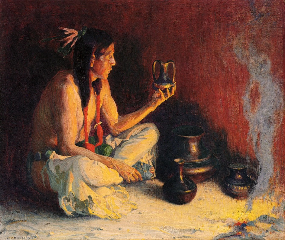 E Irving Couse - Taos Indian and Pottery