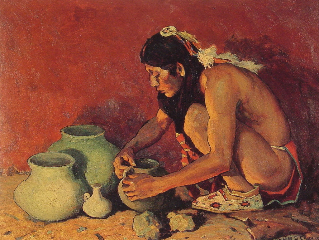E Irving Couse - The Pottery Maker