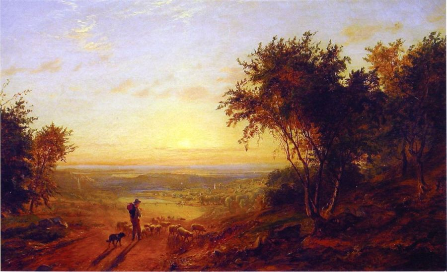 Jasper Francis Cropsey - The Return Home - Landscape with Shepherd and Sheep