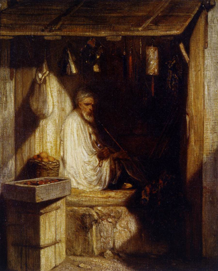 Alexandre-Gabriel Decamps - Turkish Merchant Smoking in His Shop