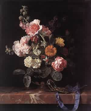 Willem van Aelst - Vase Of Flowers With Watch 1656