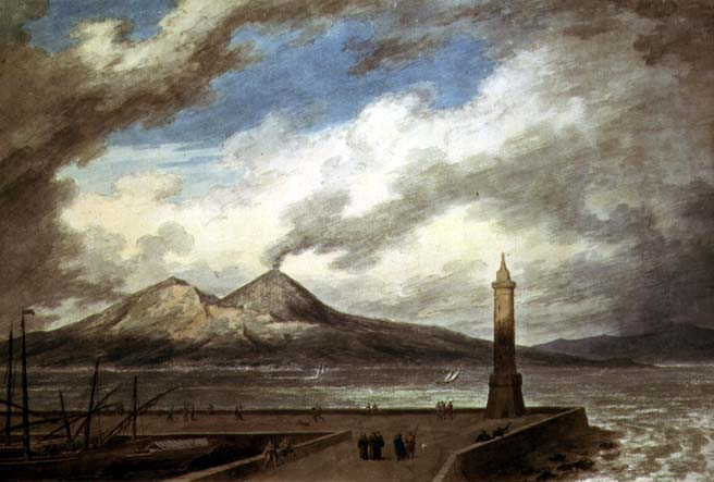 John Robert Cozens - Vesuvius and Somma from the Mole at Naples