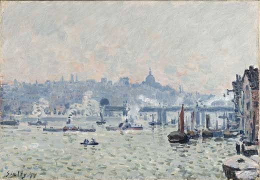 Alfred Sisley - View of the Thames - Charing Cross Bridge