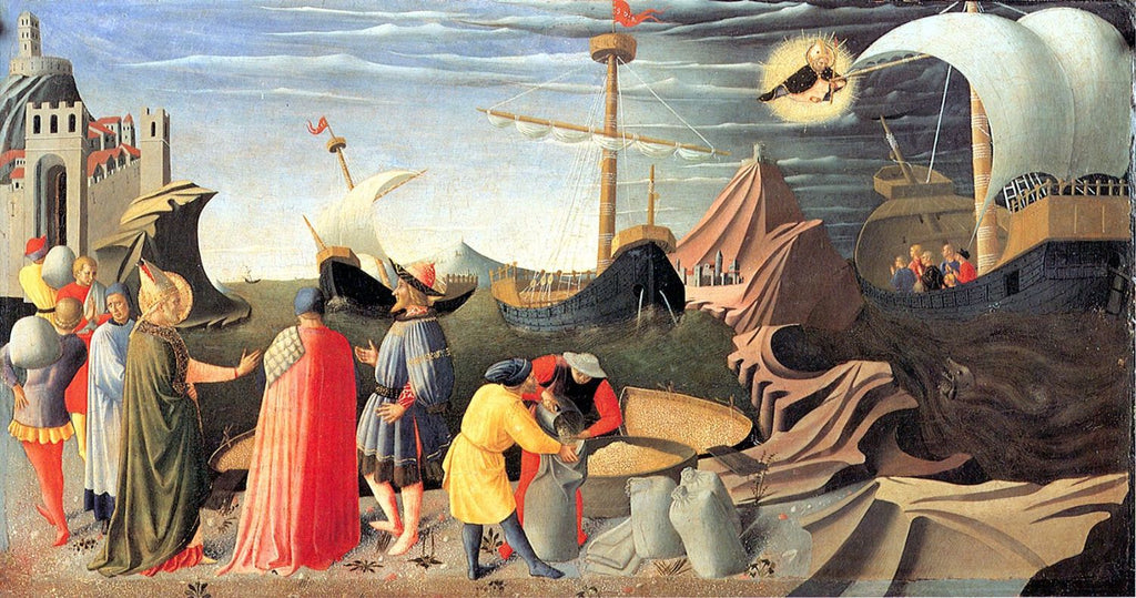 Fra Angelico - St. Nicolas Saving a Ship at See, Propagation of Wheat