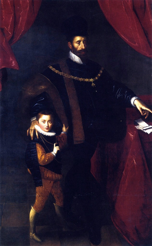 Hans von Aachen - William V Duke of Bavaria with his son Albrecht V
