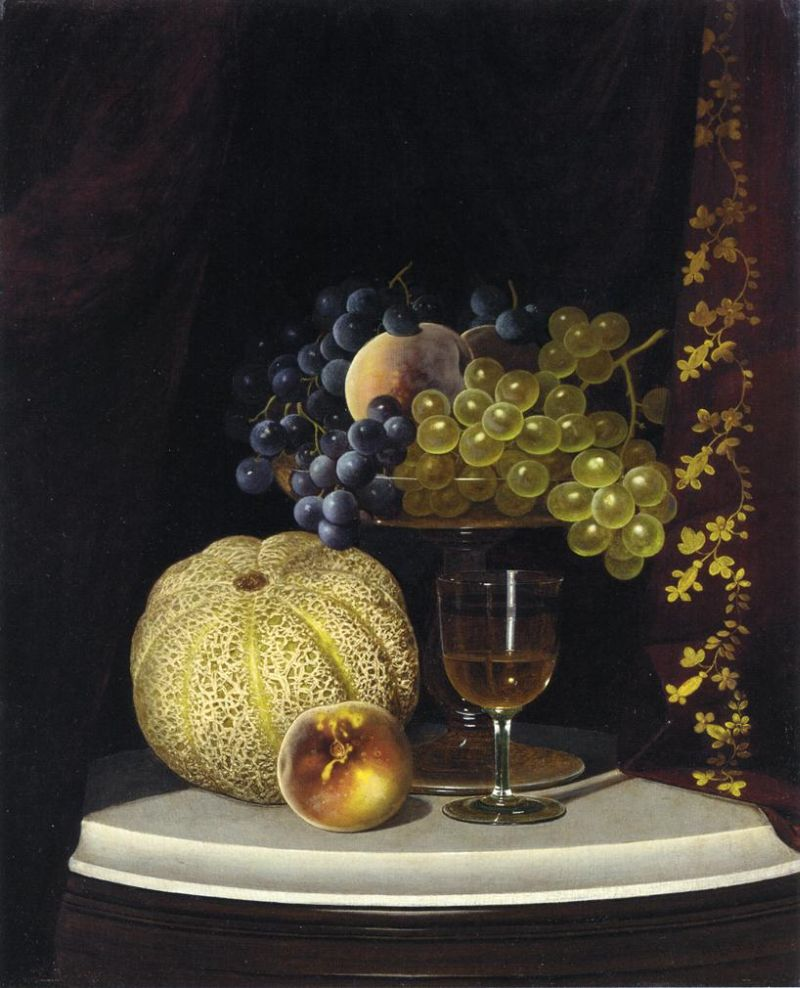 William Mason Brown - Still Life with Melon, Peach, Fruit-Filled Compote and Glass of Wine